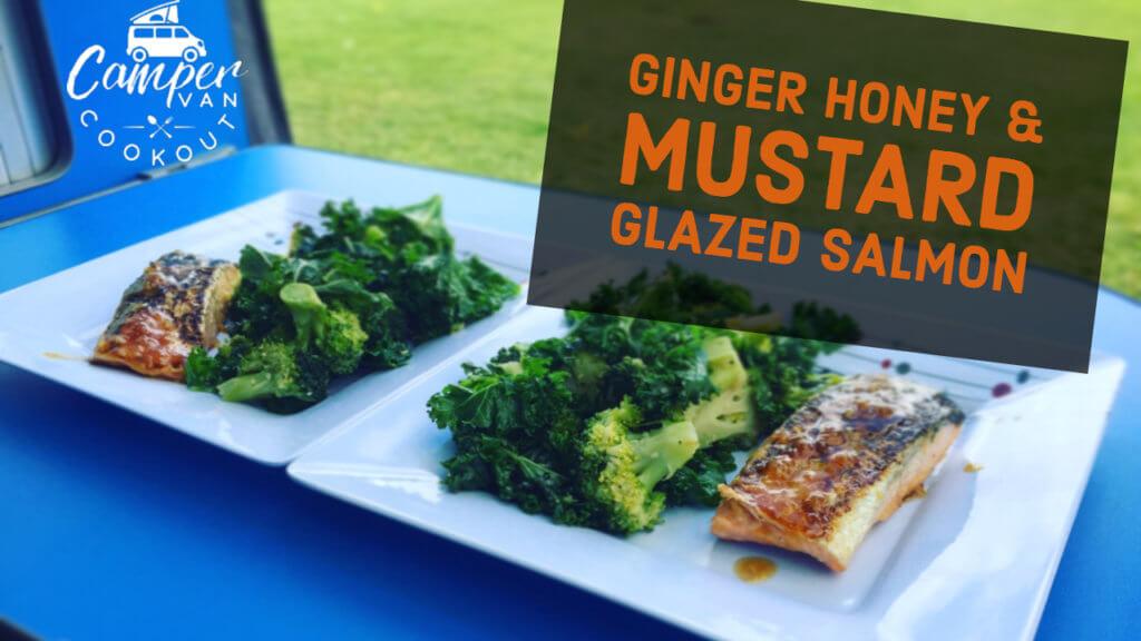 Ginger, honey and dijon glazed salmon